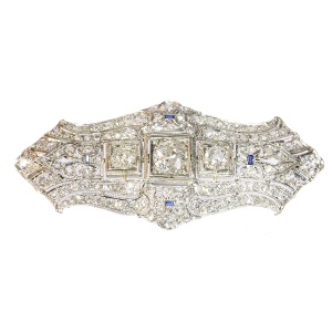 Original Vintage Art Deco diamond platinum brooch