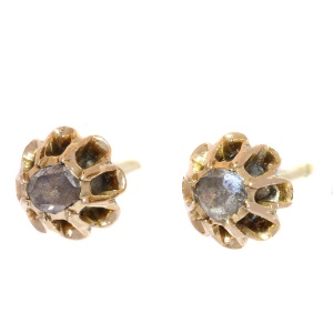 Antique gold Victorian ear studs with rose cut diamonds