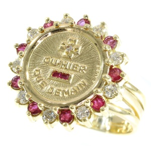 Vintage gold ring with diamonds rubies and a romantic text