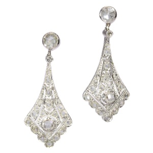 Vintage Art Deco platinum diamond ear pendants