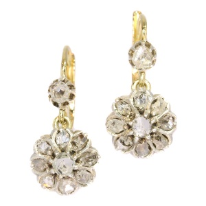 Vintage gold and diamonds earrings late Victorian