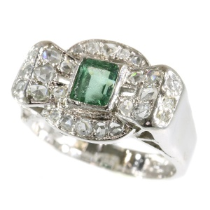 Vintage Fifties platinum diamond ring with green stone