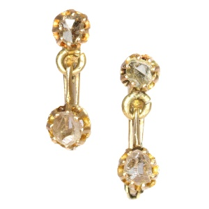 Antique cute earrings with rose cut diamonds