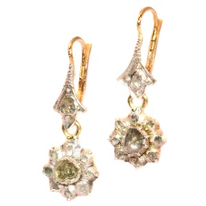 Antique Victorian earrings with rose cut diamonds