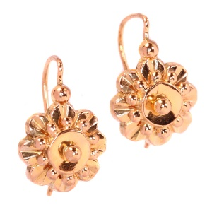 Antique late Victorian pink gold earrings