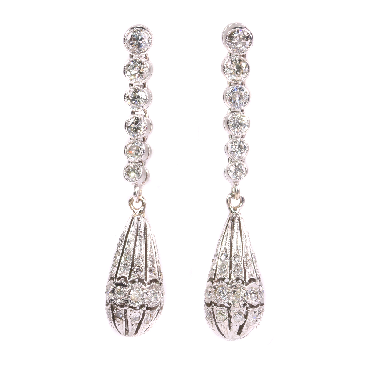Art Deco diamond pendent earrings