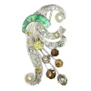 Vintage fancy color diamonds platinum bouquet or feather pendant/brooch