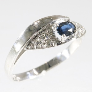 White gold diamond and sapphire ring - Vintage Seventies
