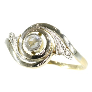 Late Victorian Belle Epoque tourbillon ring with rose cut diamonds