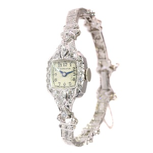 American Art Deco diamond platinum ladies watch brand Hamilton