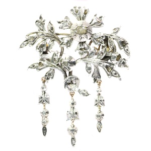 Impressive Antique silver and gold flower brooch with diamonds - anno ca. 1870!