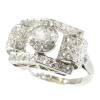 Vintage strong design platinum Art Deco ring with diamonds