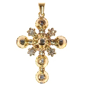 18th Century Antique gold cross table cut rose cut diamonds set