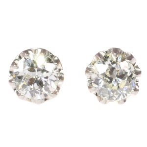 Vintage diamond Art Deco ear studs