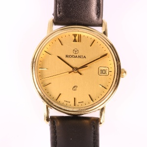 Vintage Rodania gold wrist watch with automatic date - anno 1980