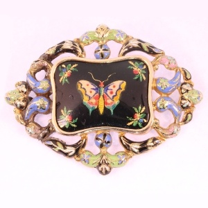 Antique Victorian enameled butterfly gold brooch