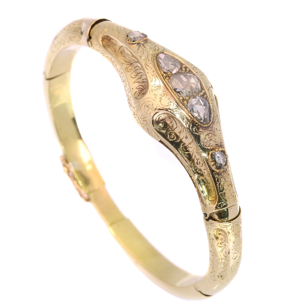 French antique Victorian gold and diamond bangle