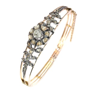 Real antique vintage rose cut diamond pink gold bangle