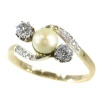 Vintage Belle Epoque diamond and pearl ring