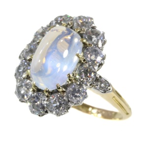 Late Victorian blueish moonstone and brilliant cut diamonds engagement ring