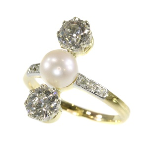 Vintage diamond and pearl engagement ring Belle Epoque period