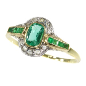 Vintage Art Deco diamond and emerald ring