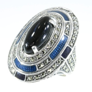 Art Deco enameled silver ring set with onyx and marcasites