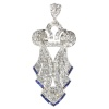 Original stylish Vintage Art Deco platinum diamond loaded pendant