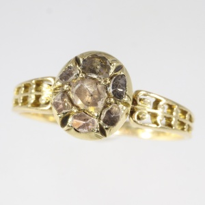 Antique early Victorian rose cut diamonds ring