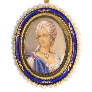 Gold enameled ladies portrait brooch and pendant with pearls, diamonds and ruby