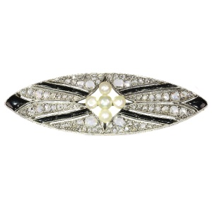 Vintage Art Deco diamond onyx and pearl brooch