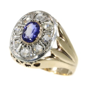 Vintage Fifties gents ring with sapphire and diamonds