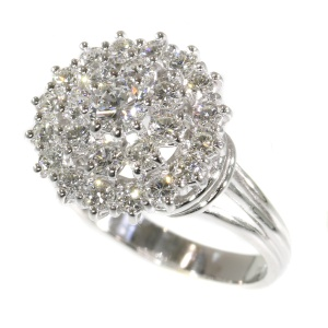 Vintage Sixties diamond cocktail ring in white gold