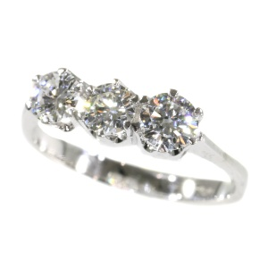 Vintage Sixties ring with three inline diamonds