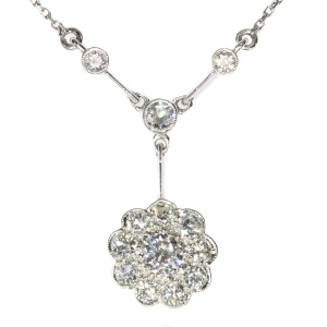 Vintage Art Deco platinum diamond chandelier necklace