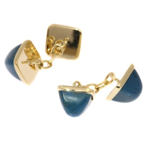 Vintage gold cufflinks set with pain du sucre cabochon cut chrysocolla