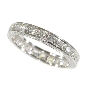 Vintage Fifties platinum diamond eternity band skilfully engraved on both sides