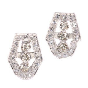 Vintage platinum Art Deco diamond earstuds from the Fifties
