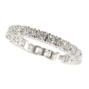 Vintage Seventies white gold fully diamond set wedding band