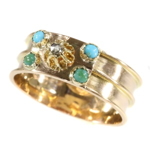 Real antique early Victorian French gold ring with turquoises rose cut diamonds