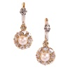 Vintage antique late Victorian earrings with rose cut diamonds and pearls