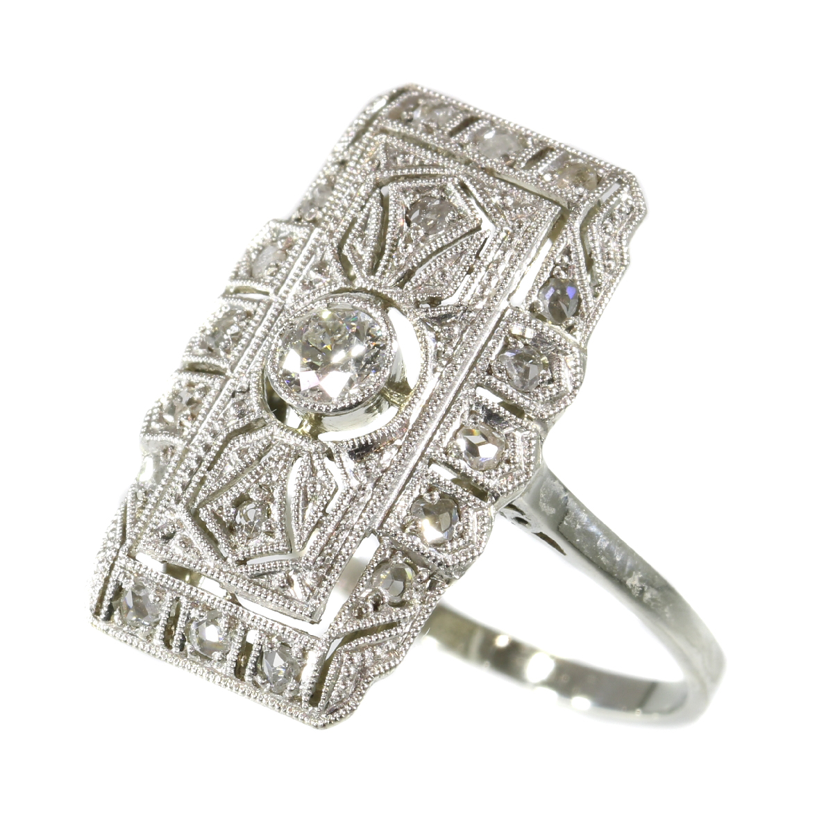 Classy Edwardian Art Deco diamond engagement ring