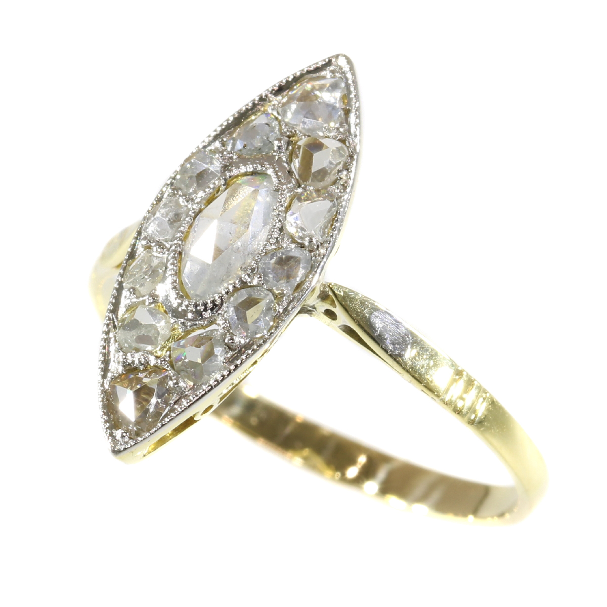 Vintage Art Deco navette or boat shaped ring with rose cut diamonds
