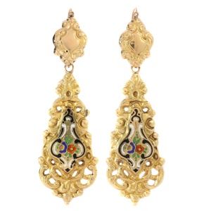 Antique Victorian gold dangle earrings with enamel