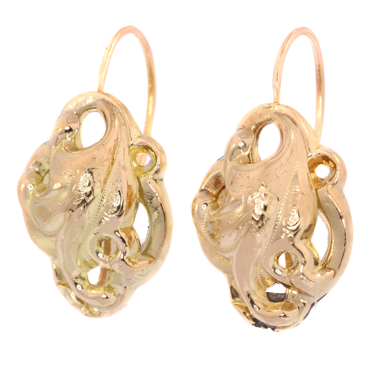 Victorian gold large earrings