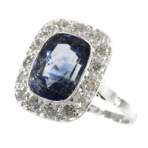 Original vintage Art Deco sapphire and diamond engagement ring