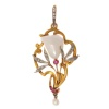 French Art Nouveau pendant with big Mississippi dog tooth pearl diamonds rubies