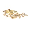 Victorian gold bird on a branch brooch with natural half seed pearls