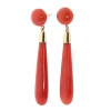 Vintage long pendant gold earrings with high quality blood coral drops