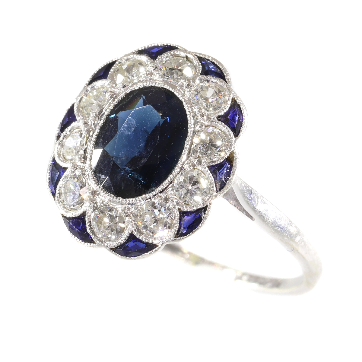 Charming original Art Deco vintage diamond and sapphire engagement ring